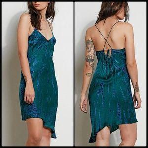STONE ROW VOLCOM Satin Slip Dress Tie Dye Xs